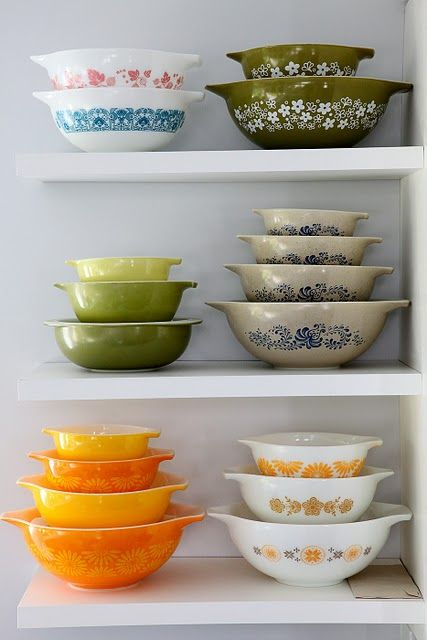 Stacks of pretty Pyrex!