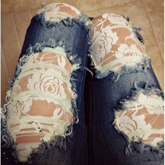 Sexy Broken Hole Rose Print See-Through Lace Spliced Cut Out Jeans