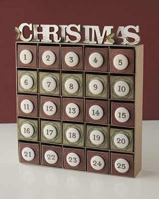 A beautiful holiday advent calendar from Close To My Heart. The numbers from the My Acrylix® Trinity Alphabet stamp set (E1021) are stamped directly on the canvas badge buttons for an irresistibly dimensional and textured effect. #CTMH