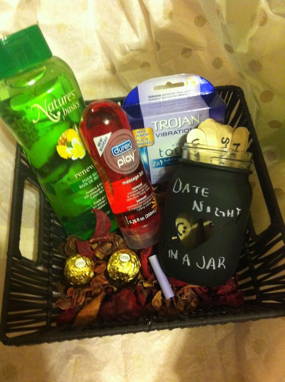 DIY date night gift basket - homemade 'Date Night in a Jar' filled with date ideas, bubble bath, and a few risqué items for a date night in.