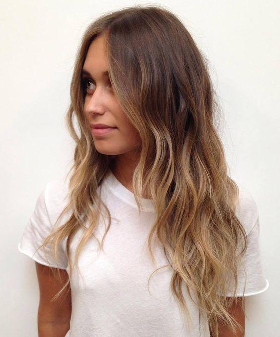 22 long layered brown and caramel balayage hair