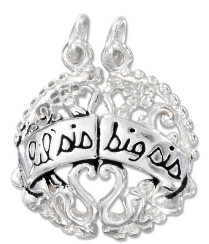 Lil Sis Big Sis Break Apart Charm Sterling Silver. Starting at $17 on Tophatter.com!