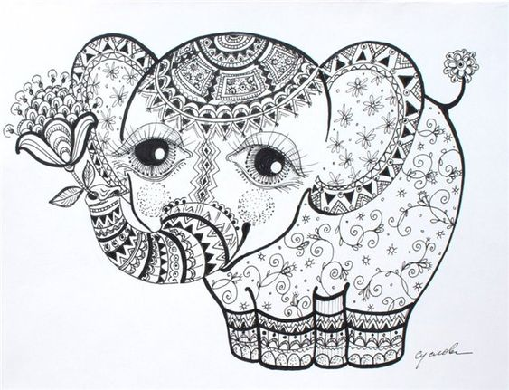 Advanced Coloring Pages Elephant : Solo cute elephant calf Ольга Суслова zentangles