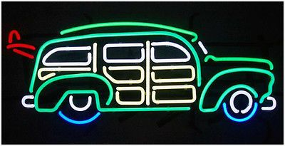 NEON BAR SIGN SURFIN WOODY WAGON WITH SURFBOARD - RARE