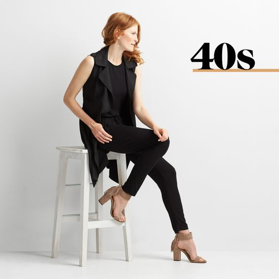 Own Your Style In Your 40s: I love everything about this look. All black - in the right weight and fit - is easy, classy, and sheik.