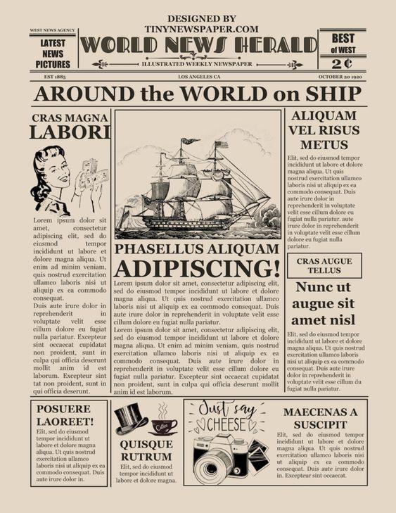 Vintage Newspaper Flyer Template Word Google Docs Free Download Intended For Old Newspaper Templat In 2020 Newspaper Template Newspaper Template Word Vintage Newspaper
