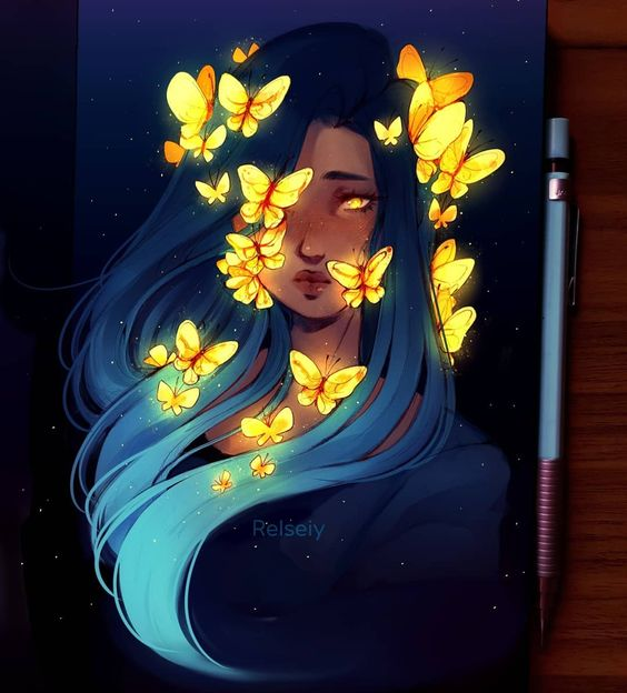 Butterflies. Scroll for zoomed in! Let me know what you think? I wanted it to me more detailed but Im just glad im making some new original art after a very art blocked Feb and March. I'll just try to draw whatever i feel like without criticising myself too much, improvement should come naturally rather than forcing myself to change. #Butterflies #digitalart #كلنا_رسامين #characterdesign