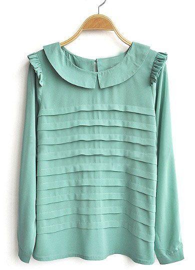 tiered pleat chiffon blouse.