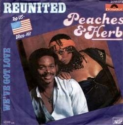 """Reunited"" was a hit song for R vocal duo Peaches & Herb.Released from their 1978 album,2 Hot,the song was a huge crossover smash,topping both the pop and soul charts.It spent four weeks at number one on both the R singles chart and the Billboard Hot 100 singles chart in 1979 and sold over 2 million copies.The song was written by Dino Fekaris & Freddie Perren. Lyrics http://www.azlyrics.com/lyrics/peaches/reunited.html  Video http://www.youtube.com/watch?v=c2JUD9Vj7u4"