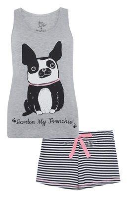 PRIMARK Ladies Pyjama Vest Top Sleeveless Tee T Shirt FRENCH BULLDOG FRENCHIE