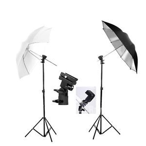 "Photography Studio 33"" Umbrella Flash Speedlite KIT Light Stand Bracket Mount B 
