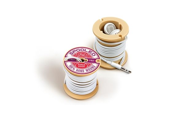 Spooled - Wound for Sound  Finally, this witty way to keep your headphones tidy made us smile. $9.95