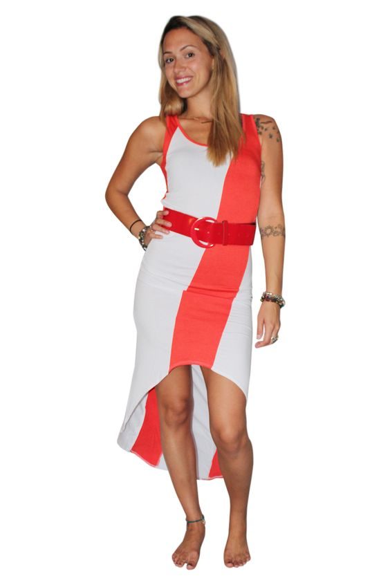 Belted, Long Dress With ColorBlock Stripe! Orange/White. - 5dollarfashions.com