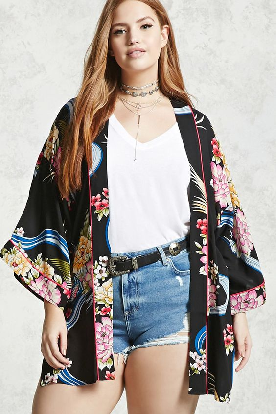 Plus Size Floral Kimono