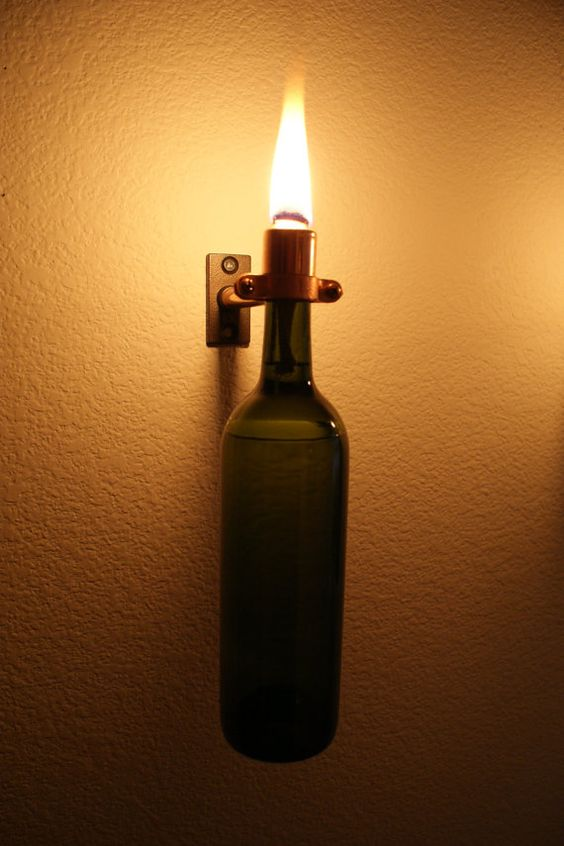 Copper INDOOR Green Wine Bottle Torch With Hardwear by IlluminusCreations on Etsy, $25.00