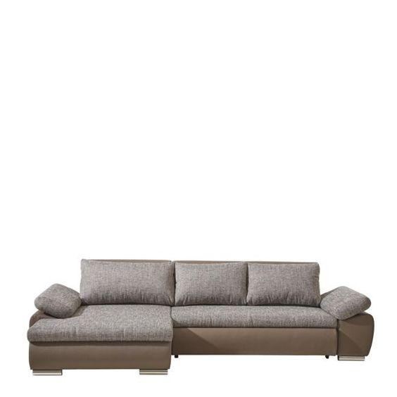 Diese Wohnlandschaft von CARRYHOME besticht durch ein trendiges Design und ist ein echtes Allround-Talent! Die Armteile, Rückenkissen und Sitzflächen sindaus pflegeleichten Spezialfasern mit einer Oberfläche aus Webstoff bezogen. Da der Korpus und der echt bezogene Rücken durch den schlammfarbenen Lederlook überzeugen, bildet dieser kontrastierende Teil einen interessanten Stilbruch. Abgerundet wird die großzügige Couch durch chromfarbene Füße aus Kunststoff sowie die hö