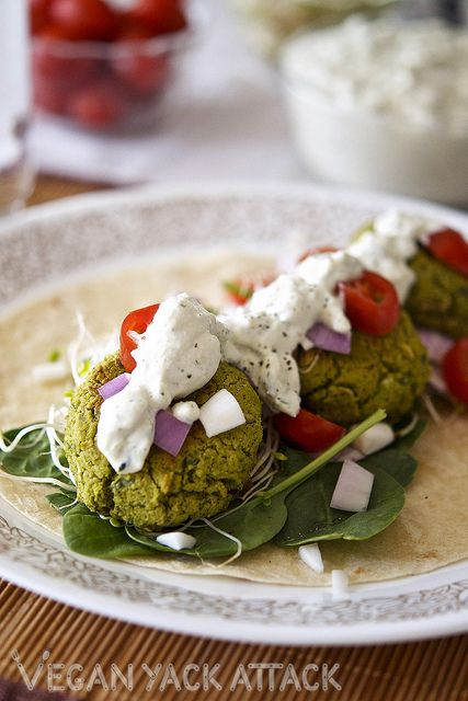Baked Spinach Falafel with Homemade Tzatziki Sauce @Vegan Yack Attack