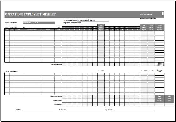 Operations employee time card template at http\/\/wwwxltemplates - timesheet calculator template