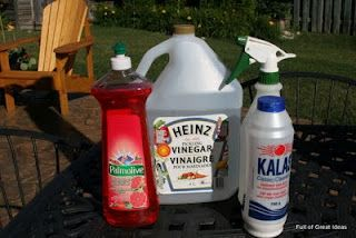 Natural Weed Killer  Materials:    spray bottle (I had a 34 ounce one I purchased at the $ store a while ago)   Pickling vinegar (It works better than regular vinegar because the acetic acid % is higher)   Salt (1/2 cup for m size bottle)   Dish soap (a squeeze)