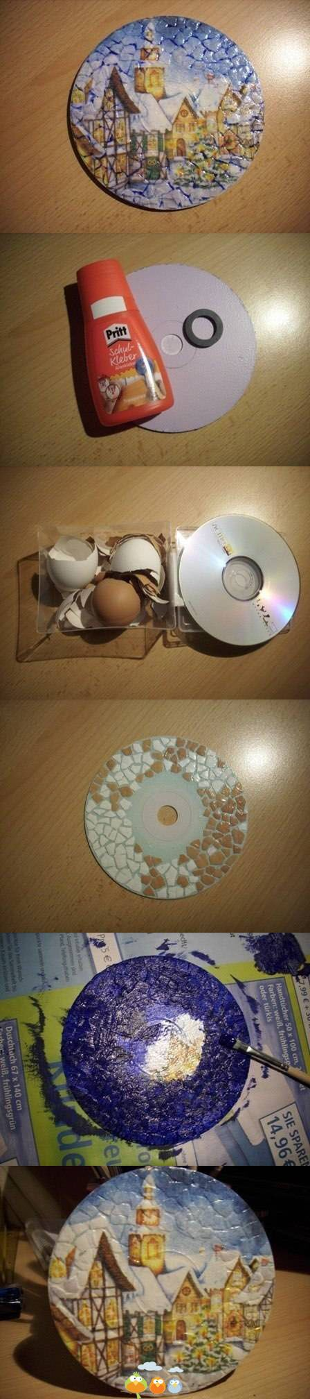 Photo tutorial (limited) on how to make a mosaic picture recycling an old CD and crunched up egg shells (for texture), and painting a scene on the CD textured surface...thinking you could decoupage a picture as well, if it was thin enough quality to maintain the mosaic texture surface, maybe: