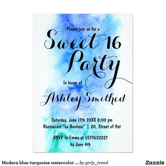 Modern blue turquoise watercolor Sweet 16 Card