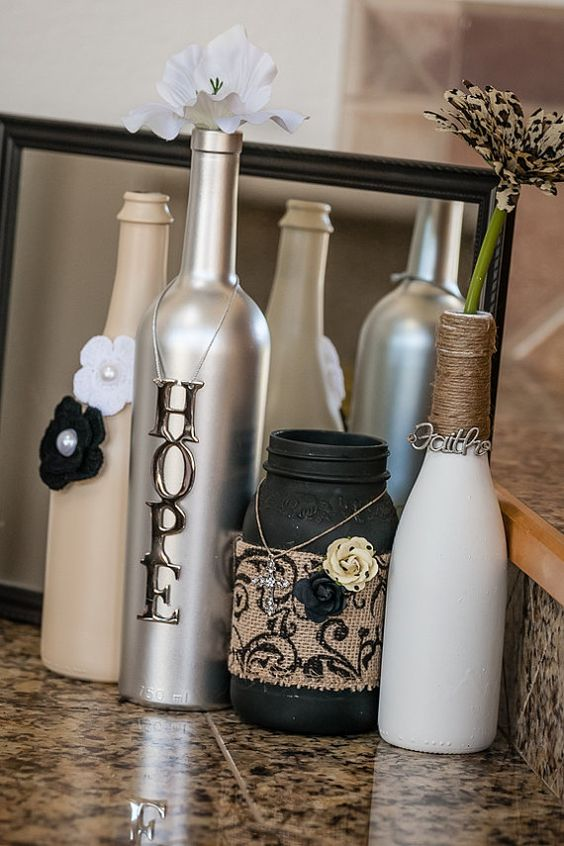 Pearl Wine Bottle Set by ReclaimYourFaith on Etsy, $36.00: