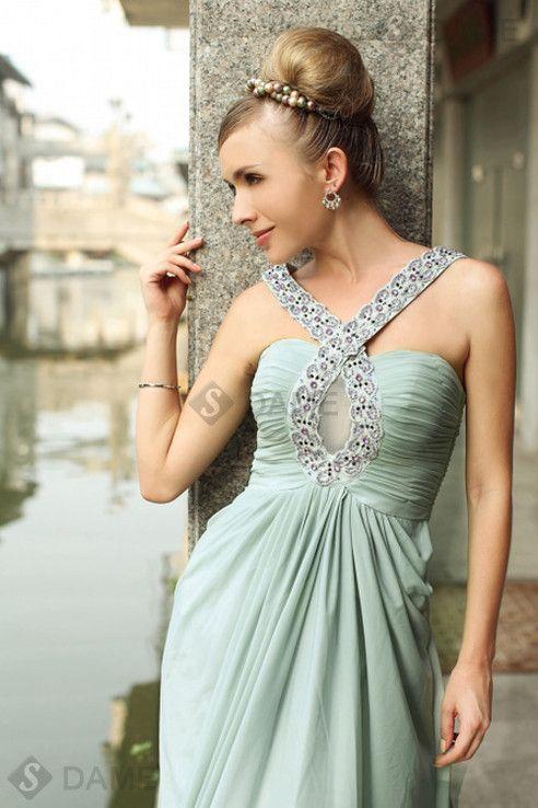 Rückenfreies breiter Träger drapiertes ärmellos Abendkleid mit Falte Mieder