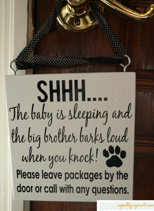 Shh Baby Sleeping Sign Wooden Plaque With Teal By Mamapicturethis