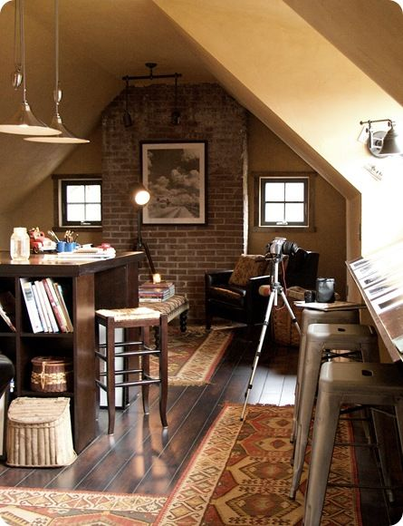 I love this attic space turned office and I love the desk/table(?) with the built-in bookcase ends (DIY something like this for behind the couch in the living room?)