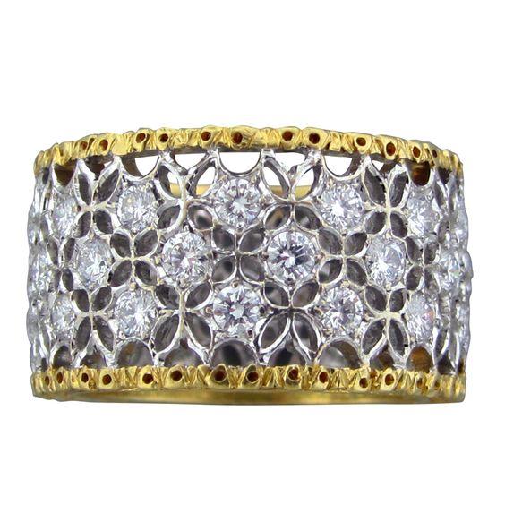 BUCCELLATI SFORATA SCACCHI Gold Diamond Wedding Band Ring