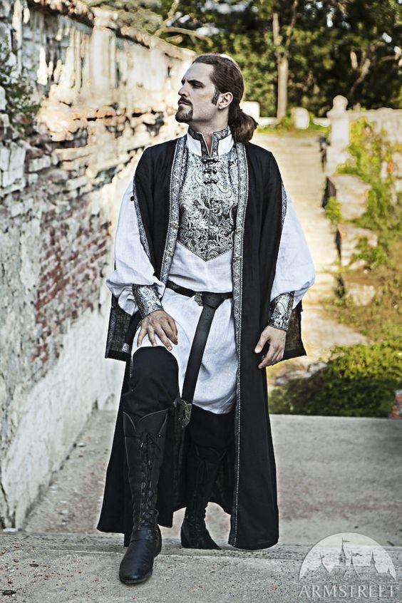 Mens surcot médiévaux ; Mens pardessus ; pendaison de costume de la manche ; costume médiéval de mens