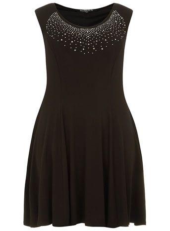 Scarlett & Jo Kleid mit verziertem Ausschnitt, Schwarz - Kleider  - Kleidung ,52