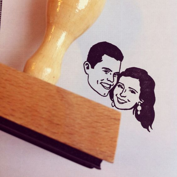 Custom Portrait Stamp www.lilimandrill.fr @lilimandrill #etsy #etsygifts #etsywedding #wedding #couple #bride #christmas #christmasgift