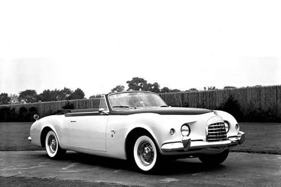 """Advertised as """"rakish, jaunty, exotic, venturesome and dashing,"""" the 1952 Chrysler-Ghia C-200 concept car embodied Virgil Exner's design philosophy of enhancing the functional elements of the car: large wire wheels, spare tire, radiator grille and tail lights."""