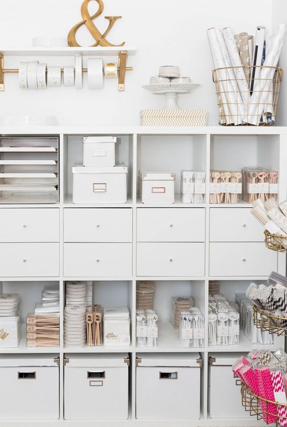 If you're short on room, optimizing your space with tall shelves is the way to go.