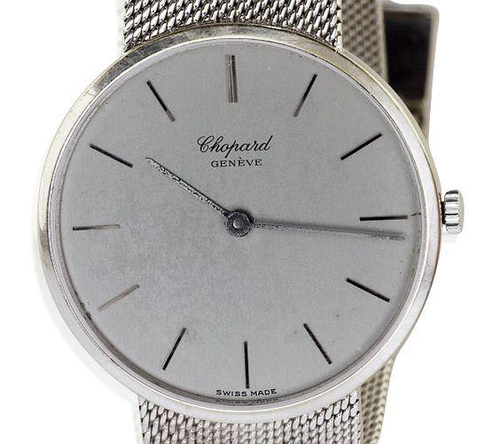 Schweizer Herrenuhr CHOPARD mit Milanese Weissgold Armband   Luxus Armbanduhr #uhr #uhren #chopard #herrenarmbanduhr #luxus #Schmuckboerse #vintage mehr: https://www.schmuck-boerse.com/index-gold-uhren.htm