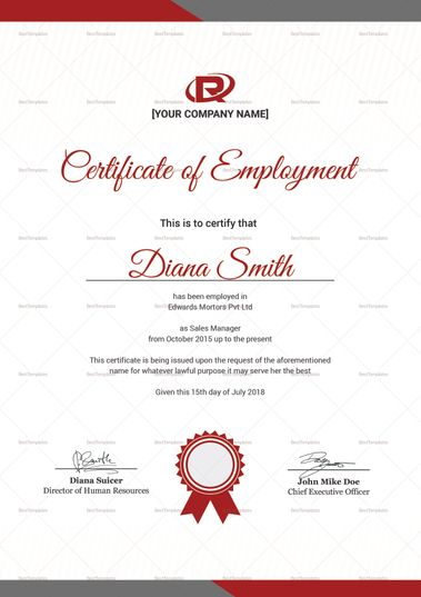 Productive Employment Certificate Template Certificate Templates Certificate Design Template Certificate