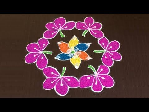 Simple Rangoli Designs With 7 X 4 X 4 Dots Easy Muggulu Art Designs With Dots Small Kolam Youtube Flower Rangoli Rangoli Designs Colorful Rangoli Designs