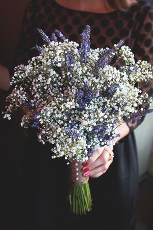 Lavender + Baby's Breath Bouquet. Photo by: Post & Beam Co. These are the two flowers I'm thinking of for our arrangements!