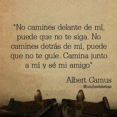 Albert Camus. No camines detrás de mí, puedo no guiarte. No andes delante de mi, puedo no seguirte. Simplemente camina a mi lado y sé mi amigo.