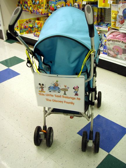 DIY stroller tag...a very good idea especially for rented strollers