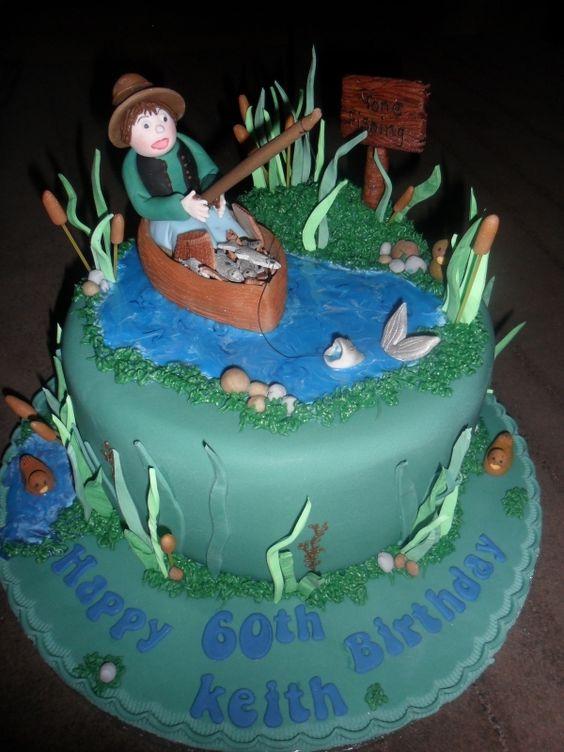 Man Fishing In A Boat Birthday Cake Cake Making Pinterest - Fishing boat birthday cake