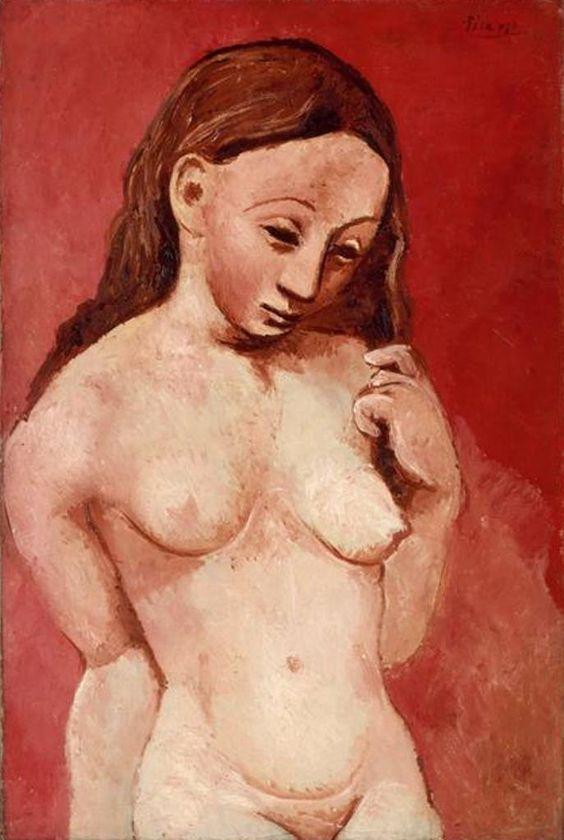 pablo-picasso-nu-sur-fond-rouge-1905-1906.jpg 687×1,024 pixels