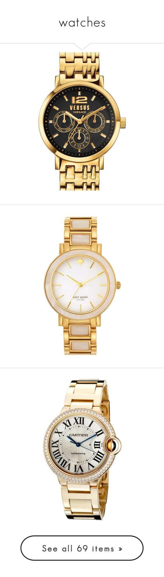 """watches"" by patcamppos ❤ liked on Polyvore featuring jewelry, watches, bezel jewelry, chronograph wrist watch, polish jewelry, chronograph watch, chronograph watches, kate spade, kate spade watches and watch bracelet"
