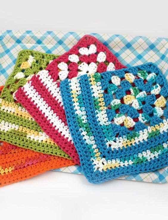 Granny Corner Dishcloth - Free Crochet Pattern - (yarnspirations) Crochetaw...