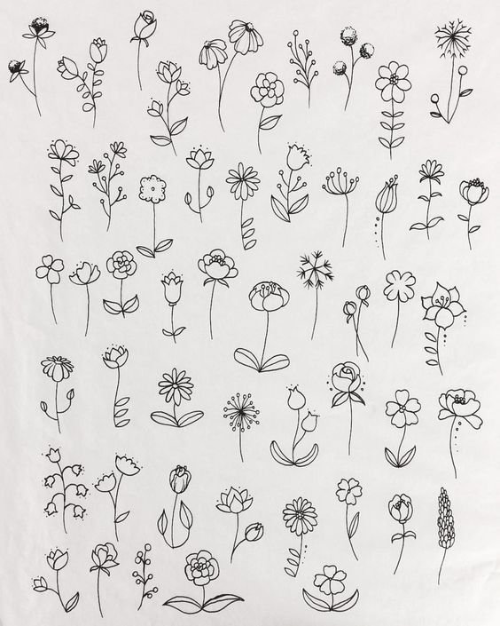 Muchas Flores Dibujo In 2020 Simple Flower Drawing Floral Drawing Flower Doodles
