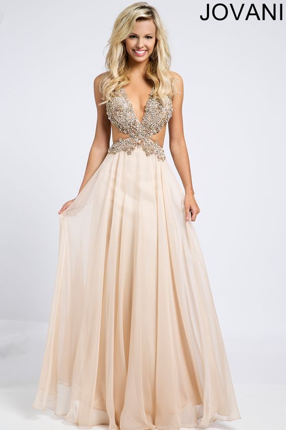 Jovani Blush Chiffon Cut-Out Side Dress 98123