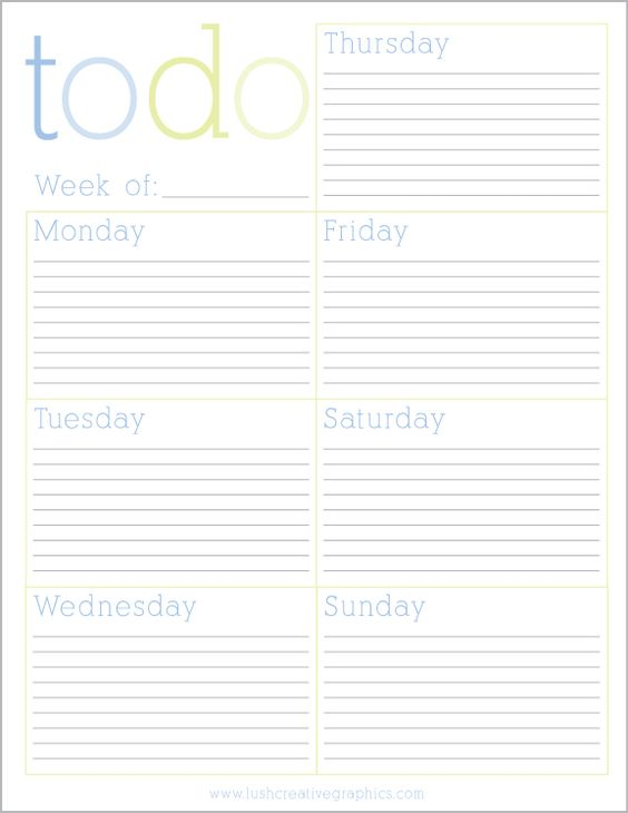 Free Printable Weekly To Do List from Lush Creative