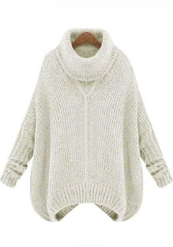 Light Gray Plain Irregular High Neck Pullover