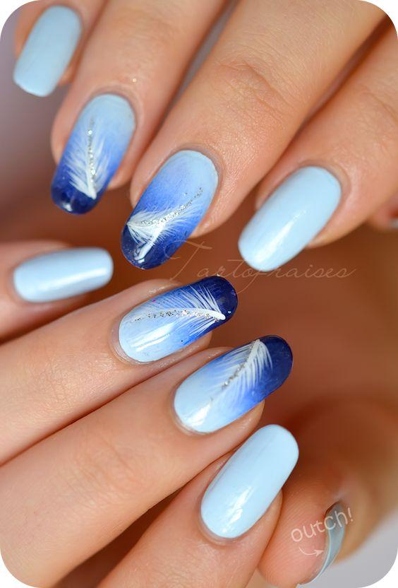 nail art dégradé plume